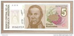 Argentina - Banconota Non Circolata FdS Da 5 Australes P-324b - 1989 - Argentina