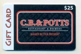 C.B. & Potts Restaurant & Brewery  U.S.A.  Gift Card For Collection, Without Value # 1 - Gift Cards