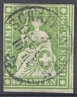 40  R. Vert-jaune Papier épais Fil Vert Oblitéré - 1862-1881 Helvetia Assise (dentelés)