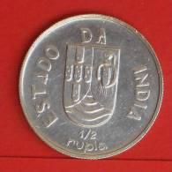 INDIA - PORTUGUESA  1/2  RUPIA  1936  Silver Coin  KM# 23  -    (700) - India