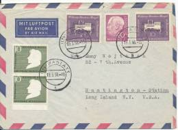 Germany Air Mail Cover Sent To USA Rastatt 19-3-1956 (there Is A Tear At The Top Of The Cover) - [7] Federal Republic