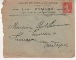 SEMEUSE SUR LETTRE AMBULANT DE NEXON A BRIVE DU 20/4/1911 - Marcophilie (Lettres)