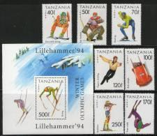 Tanzania 1994 Winter Olympic Games Lillehammer 7v + M/s MNH # 5333 - Hiver 1994: Lillehammer