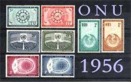 ONU ~1956 Année Compl.  N°  40 à 47  Neuf X  ( Trace De Charn.) = 8 Valeurs - New York - Sede De La Organización De Las NU