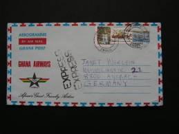 == Ghana , 1992  Aeorogramme,   Express Cv. To Germany - Ghana (1957-...)