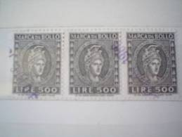 ITALIA REPUBBLICA - USATO - STRISCIA DI TRE MARCA DA BOLLO ITALIA TURRITA - £ 500 X 3 - 6. 1946-.. Repubblica