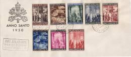 """CITTA DEL VATICANO /   30.6.1950  - Cover _ Lettera  """" ANNO SANTO 1950 """" _ Lire 5+6+8+10+20+25+30+60 - Covers & Documents"""
