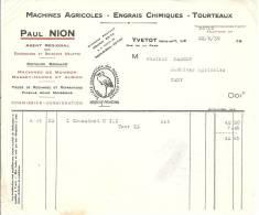 76 YVETOT MACHINES ENGRAIS TOURTEAUX PAUL NION BRABANTS MELOTTE MASSEY HARRIS ALBION RUE DE LA GARE MASSON CANY 1939 - Agricoltura