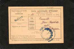 GLENAT - CARTE D'ELECTEUR 1922 - Karten