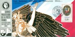 055 Carte Officielle Exposition Internationale Exhibition Naposta 1989 France FDC Déclaration Des Droits De L'homme - Esposizioni Filateliche
