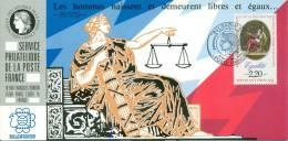 057 Carte Officielle Exposition Internationale Exhibition Bulgaria 1989 France Déclaration Des Droits De L´homme - Esposizioni Filateliche