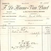 Factuur Maison F. De Haene - Van Praet - Tailleur Brugge - 1916 - Petits Métiers