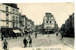 Rouen Place De L´Eglise   Animée - Rouen