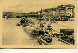 Rouen  Quai De Paris   Animée Avec  Peniches - Rouen