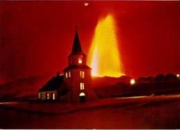 Heimaey     The éruption On Hemaey. The Church....volcano 1973 - Islande