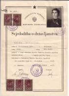 H CERTIFICATE OF CITIZENSHIP FNRJ JUGOSLAVIA NOVO MESTO SLOVENIA - Historical Documents