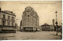 Rouen    Rue  Jeanne D'Arc  Et Café De La Gare  Animée - Rouen