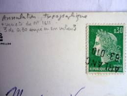 N° 1611 30 C MARIANNE DE CHEFFER VARIETE 3 COUPE - Oblitéré ANNULATION TYPOGRAPHIQUE - Errors & Oddities