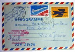 Entier Postal AEROGRAMME PREMIER VOL PARIS - RIO SUR CONCORDE - 21-01-1976 - Francia