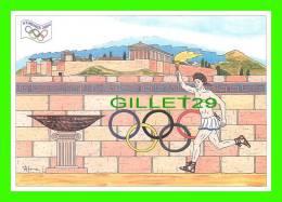 JEUX OLYMPIQUES, ATHÈNES 2004 - ARRIVÉE DE LA FLAMME - ILLUSTRATEUR, P. HAMM - No 02 - FESTICART 2004 , - Jeux Olympiques
