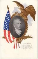 James Monroe 5th US President, Flag Patriotic, C1900s Vintage Embossed Postcard - People