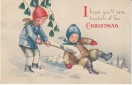 Merry Christmas, Children Play In Snow, Shovel, C1910s/20s Vintage Postcard - Altri
