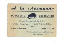 Petit Calendrier 1956 Maroc CASABLANCA Boucherie Charcuterie A LA NORMANDE Anfa Beauséjour C.I.L. Centre COCHON - Petit Format : 1941-60