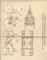 Original Patentschrift - H. Thiessen In Wandsbeck , 1898 , Fahrrad Mit Schwingsattelantrieb Und Trethebel , Fahrräder !! - Transport