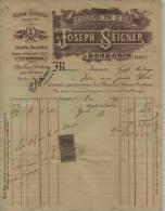 F 3 - Isére - BOURBGOIN - ABSINTHE SUPERIEURE - Joseph SEIGNER  Facture De Mai 1899 - Quina - Ratafia Etc... - Alcohols