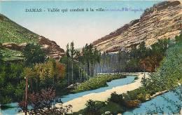 Damas : Vallée Qui Conduit à La Ville, En Arrivant De Rayack. 2 Scans. Edition Sarrafian - Syria