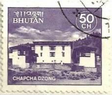 BHUTAN TEMPLE CHAPHA DZONG PURPLE 50 CH USED 1970s(?) SG? READ DESCRIPTION !! - Bhutan