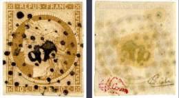 YVERT 1 - 1850  Ceres N° 1 - 10 C Bistre - Oblitération PC - Signe BRUN & CALVES - 1849-1850 Ceres