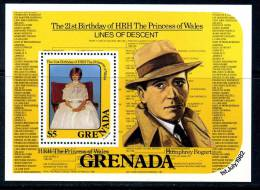Grenada QEII 1982 Princess Diana MS Humphrey Bogart, MNH (A) - Grenada (1974-...)