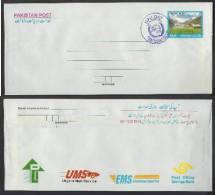 PAKISTAN Postal Stationery 4 Rupees Envelope Lake Saiful Malook, Cancelled With UPU DAY 8-11-2010 Stamp Exhibition Karac