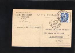 49 MAINE ET LOIRE  CARTE COMMERCIALE LA TESSOUALLE CAMILLE PORCHERON MA NUFACTURE DE PANTOUFLES - France