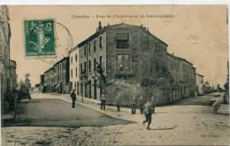 CPA 42 CHAZELLES SUR LYON RUES DES CHEVRIERES ET SAINT GALMIER 1908 - Sonstige Gemeinden