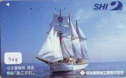 Télécarte Japon * BATEAU VOILIER * Sailing SHIP (304) Phonecard Japan * SCHIFF * Segelschiff * Zeilboot * YACHT - Boats