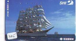 Télécarte Japon * BATEAU VOILIER * Sailing SHIP (305) Phonecard Japan * SCHIFF * Segelschiff * Zeilboot * YACHT - Boats