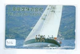 Télécarte Japon * BATEAU VOILIER * Sailing SHIP (306) Phonecard Japan * SCHIFF * Segelschiff * Zeilboot * YACHT - Boats