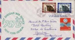 ONU ~ 1971   Enveloppe 1° Vol Aerien  Swissair  New York Genève Par 747 - Lettres & Documents