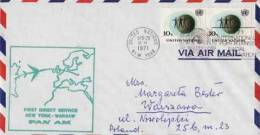 ONU ~ 1971   Enveloppe 1° Vol Aerien Pan Am   New York Varsovie - Lettres & Documents