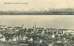 NEUCHATEL - Vue Générale Et Les Alpes (Phototypie Co., Neuchâtel) - NE Neuchâtel