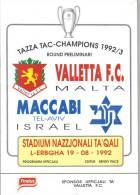 MALTA - PROGRAM BOOK  (  VALLETTA F.C.  Vs  MACCABI  )  1992 - Books