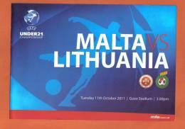 MALTA -  PROGRAM BOOK  (  MALTA  Vs  LITHUANIA  ) 2011 - Books