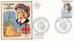 FDC  France 1972: Chomedey De Maisonneuve, Fondateur De Montreal - 1970-1979