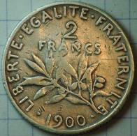 2 FRANCS ARGENT SEMEUSE 1900 TB+ RARE - France