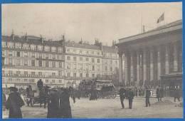 Volet Illustré Découpé D'une Carte Lettre - PARIS - PLACE DE LA BOURSE - Attelages Divers, Agence Métropolitaine - Rare - Squares