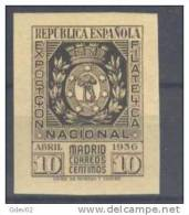 ES727-L1921.Spain.Escudo  De Madrid.Espagne.EXPOSICION    FILATELICA  NACIONAL.1936.( Ed 727**,)sin Charnela.LUJO - 1931-50 Nuevos & Fijasellos