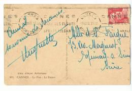 6 F Gandon (Y.T. 721A) Seul Sur CP - 9-VIII-48 De Cannes - Lettres & Documents