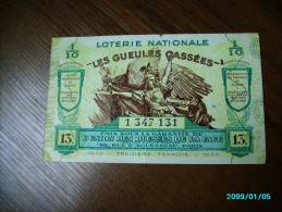 FRANCE  Loterie Nationale Les Gueules Cassees 1939 13e TRANCHE - Lottery Tickets
